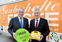 LH-Stv. Dr. Stephan Pernkopf und Präsident der NÖ Umweltverbände LAbg. Bgm. Anton Kasser mit der neuen Kuchenbox (Bildquelle: NLK Filzwieser)