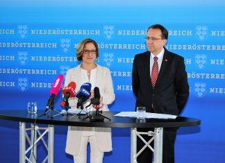 Landeshauptfrau Johanna Mikl-Leitner und Bürgermeister Matthias Stadler haben heute, Donnerstag, im Zuge einer Pressekonferenz im NÖ Landhaus mehrere Schwerpunkte der Zusammenarbeit zwischen dem Land und der Landeshauptstadt präsentiert. (Bildquelle: ReschMedia)