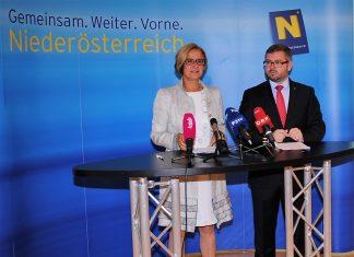 Landeshauptfrau Johanna Mikl-Leitner und Landesrat Ludwig Schleritzko bei der Pressekonferenz im St. Pöltner Landhaus. (Bildquelle: Thomas Resch)