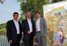 (v.l.n.r.): Tullns Bürgermeister Peter Eisenschenk, Landesrat Karl Wilfing und Garten Tulln Geschäftsführer Franz Gruber informierten über die betroffene Eschenpopulation. (Bildquelle: Thomas Resch)