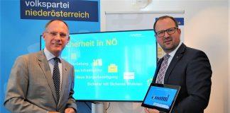 (v.l.n.r.): VPNÖ - Sicherheitssprecher LAbg. Gerhard Karner und VPNÖ Landesgeschäftsführer LAbg. Bernhard Ebner informierten in St. Pölten zum Thema Sicherheit in Niederösterreich. (Bildquelle: Thomas Resch)