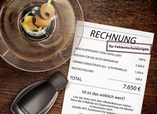 Poster warnt mit Rechnungsdarstellung eindringlich vor möglichen Folgen von Autofahrten unter Alkoholeinfluss (Bildquelle: Fachverband der Lebensmittelindustrie)