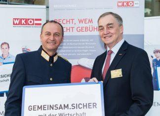 Erfolgreiche Kooperation für mehr Sicherheit in den NÖ Betrieben: NÖ Landespolizeidirektor Konrad Kogler (l.) und WKNÖ-Vizepräsident Christian Moser. (Bildquelle: Kraus / WKNÖ)
