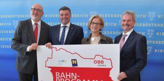 v.l.n.r.: ÖBB-Vorstandsvorsitzender Andreas Matthä, Bundesminister Jörg Leichtfried, Landeshauptfrau Johanna Mikl-Leitner und Landesrat Karl Wilfing (Bildquelle: NLK Filzwieser)
