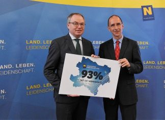 (v.l.n.r.): LH-Stellvertreter Dr. Stephan Pernkopf präsentierte in St. Pölten gemeinsam mit Univ.-Prof. Dr. Peter Filzmaier die aktuelle Umweltumfrage. (Bildquelle: Thomas Resch)