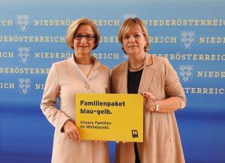 """(v.l.n.r.): Landeshauptfrau Johanna Mikl-Leitner und Landesrätin Barbara Schwarz präsentierten bei einer Pressekonferenz in St. Pölten das """"Familienpaket blau-gelb"""". (Bildquelle: Thomas Resch)"""
