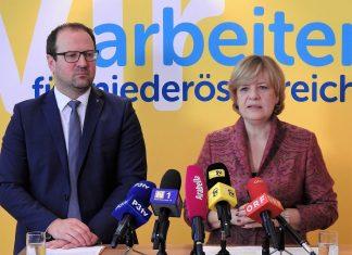 VP-Landesgeschäftsführer Bernhard Ebner und NÖ Soziallandesrätin Barbara Schwarz bei der Pressekonferenz zum Thema Pflegeregress (Bildquelle: Thomas Resch)