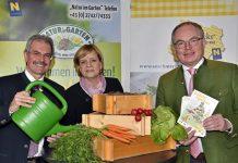 """(v.l.n.r.): Landesrat Karl Wilfing, Landesrätin Barbara Schwarz und LH-Stellvertreter Stephan Pernkopf freuen sich über eine zahlreiche Beteiligung am Projekt """"Gemüsepyramide"""" (Bildquelle: NLK/Ernst Reinberger)"""