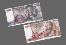 Präklusivfrist für 500-ATS-Banknote (Wagner) und 1.000-ATS-Banknote (Schrödinger) endet am 20. April 2018 (Bildquelle: OeNB)