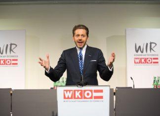 Der neue WKÖ-Präsident Harald Mahrer bei seiner Rede (photonews.at / Georges Schneider)