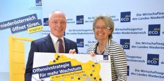 ecoplus Geschäftsführer Helmut Miernicki und Wirtschaftslandesrätin Petra Bohuslav (Bildquelle: NLK Pfeiffer)