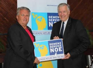 (v.l.n.r.): NÖGKK-Obmann Gerhard Hutter und NÖGUS-Vorsitzender Landesrat Martin Eichtinger freuen sich über die ausgezeichnete Bilanz des Demenz-Service NÖ (Bildquelle: NÖGUS)