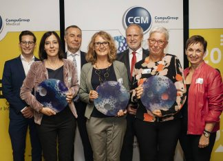 "(v.l.n.r.): Philipp Streinz, MA (Projektleitung INTEGRI), Mag. Aloisia Angermair (Projekt ""Familiäre Pflege""), Erwin Jobst (CompuGroup Medical), Mag. Helga Zellhofer (Projekt ""PalliDoc NÖ""), Dr. Heinz Brock, MBA, MPH, MAS (INTEGRI Jury), Monika Czamler (Projekt ""Krisenhilfe OÖ""), Dr. Susanne Herbek (Bildquelle: CompuGroup Medical)"