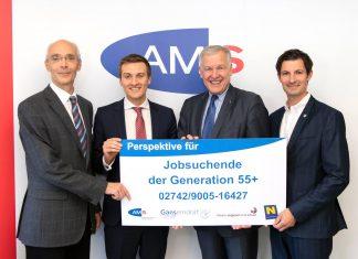 (v.l.n.r.): AMS-Gänserndorf Alfred Walbert, AMS-NÖ Leiter Sven Hergovich, Landesrat Martin Eichtinger und Bgm. René Lobner (Bildquelle: NLK Pfeiffer)
