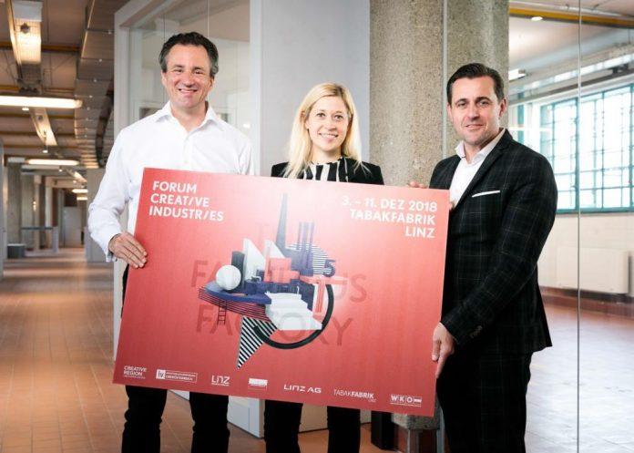 (v.l.n.r.): Patrick Bartos (GF Creative Region), Doris Lang-Mayerhofer (STRin für Kreativwirtschaft) und Chris Müller (Tabakfabrik Linz) (Bildquelle: vog.photo)