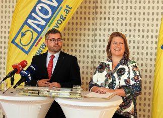 Landesrat Ludwig Schleritzko und die neue NÖVOG-Geschäftsführerin Barbara Komarek bei der Pressekonferenz in St. Pölten (Bildquelle: Thomas Resch)