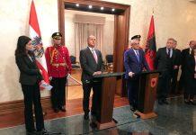 (v.l.n.r.): Nationalratspräsident Wolfgang Sobotka und der albanische Parlamentspräsident Gramoz Ruçi (Bildquelle: Parlament)