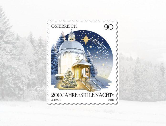 """Die Sonderbriefmarke zu 200 Jahre """"Stille Nacht, heilige Nacht"""" der Österreichischen Post (Bildquelle: Post/ReschMedia)"""