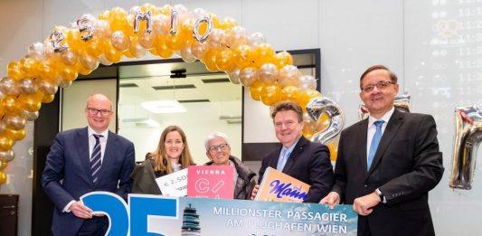 (v.l.n.r.): Mag. Julian Jäger, Vorstand der Flughafen Wien AG, Bettina Corazza und Marie-Therese Corazza, Michael Ludwig, Bürgermeister von Wien, Dr. Günther Ofner, Vorstand der Flughafen Wien AG (Bildquelle: zVg.)