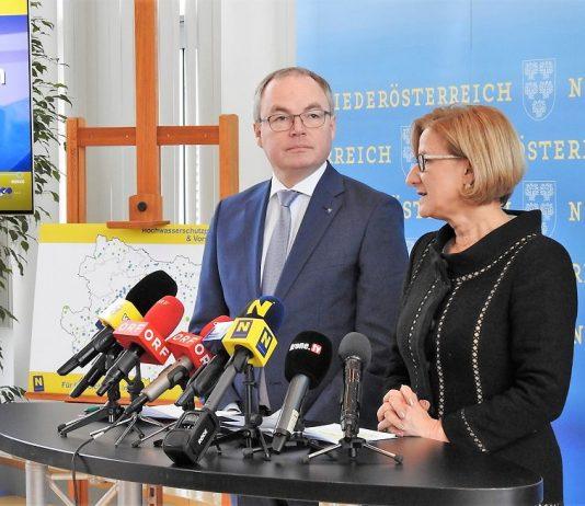 Landeshauptfrau Johanna Mikl-Leitner und LH-Stellvertreter Stephan Pernkopf boten einen Rück- und Ausblick zum Hochwasserschutz in Niederösterreich (Bildquelle: Thomas Resch)