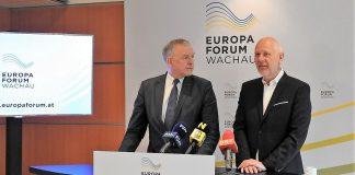 (v.l.n.r.): EU-Landesrat Martin Eichtinger und Zukunftsforscher Matthias Horx präsentierten das neue Format für das Europa Forum Wachau (Bildquelle: Thomas Resch)