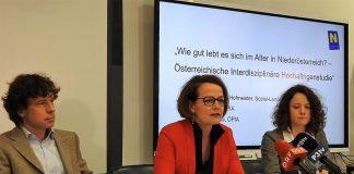 (v.l.n.r.): Georg Ruppe (Geschäftsführer ÖPIA), Sozial-Landesrätin Christiane Teschl-Hofmeister und Sophie Psihoda (ÖPIA) bei der Pressekonferenz in St. Pölten. (Bildquelle: Thomas Resch)