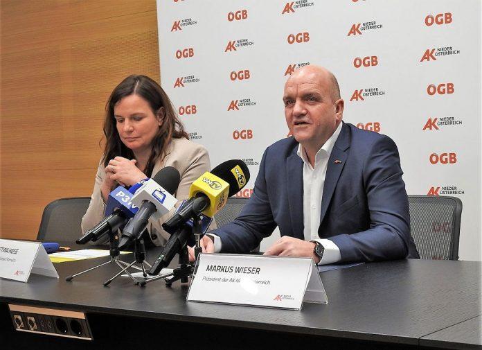 AK Niederösterreich-Direktorin Bettina Heise und AK Niederösterreich-Präsident Markus Wieser bei der Pressekonferenz zu den Steuersparwochen 2019 (Bildquelle: Thomas Resch)