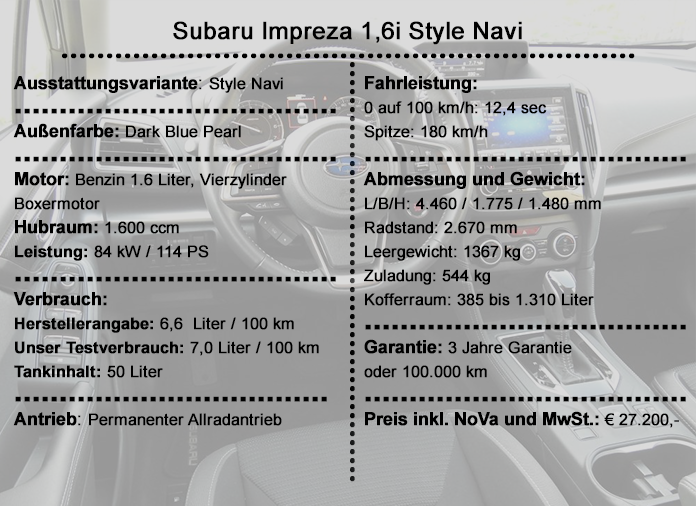 Subaru Impreza 16i Style Navi