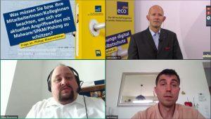 Reihe oben: Moderator Claus Zeppelzauer, ecoplus Bereichsleiter Unternehmen & Technologie, Reihe unten (v.l.): Philipp Blauensteiner und Joe Pichlmayr (Bildquelle: ecoplus)