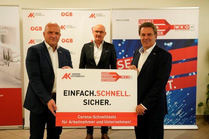 (v.l.n.r.): AKNÖ-Präsident Markus Wieser, AMZ Mödling-Geschäftsführer Peter Acs und WKNÖ-Präsident Wolfgang Ecker