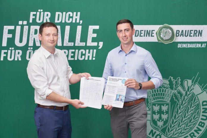 (v.l.n.r.): NÖ Bauernbunddirektor Paul Nemecek und Alexander Bernhuber sind bekennende Gegner des MERCOSUR-Abkommens