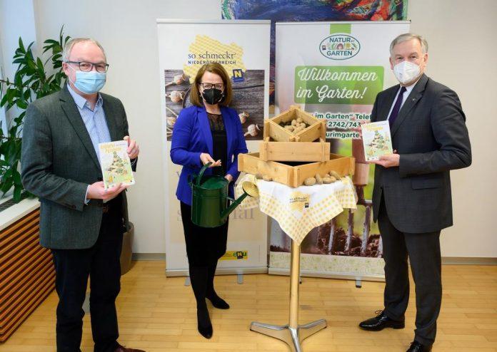 (v.l.n.r.:) LH-Stv. Stephan Pernkopf, Landesrätin Christiane Teschl-Hofmeister und Landesrat Martin Eichtinger