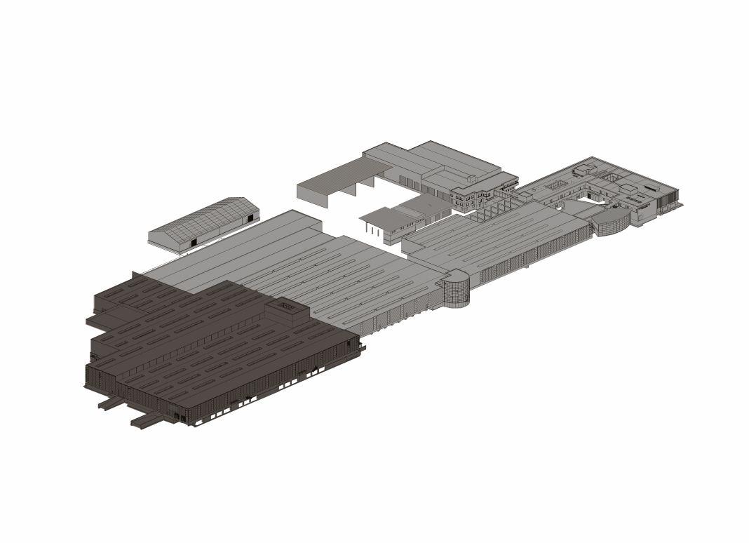 Der dunkelgraue Bereich markiert den Neubau in der Grüße von 18.000 m². <small> (Bildquelle: Hargassner) </small>