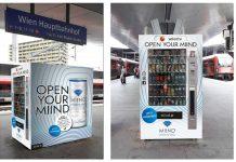Das neue Selecta-Automat-Fullbranding von MIIND am Hauptbahnhof Wien (Bildquelle: MIIND / Cayenne)