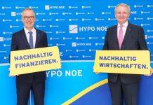 (v.l.n.r.): HYPO NOE Vorstände Wolfgang Viehauser und Udo Birkner präsentieren den Jahresfinanzbericht 2020