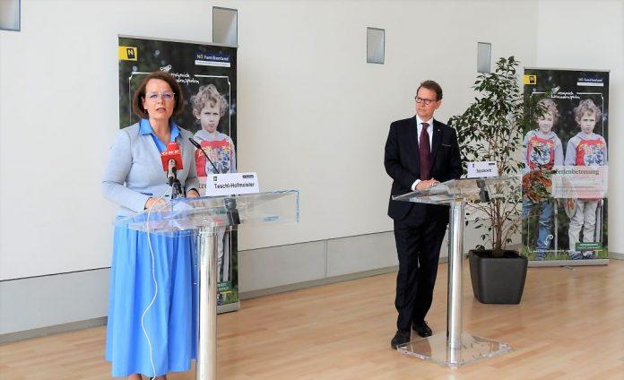 Familien-Landesrätin Christiane Teschl-Hofmeister und EVN Vorstandsdirektor Stefan Szyszkowitz bei der Pressekonferenz im St. Pöltner Landhaus (Bildquelle: Thomas Resch)