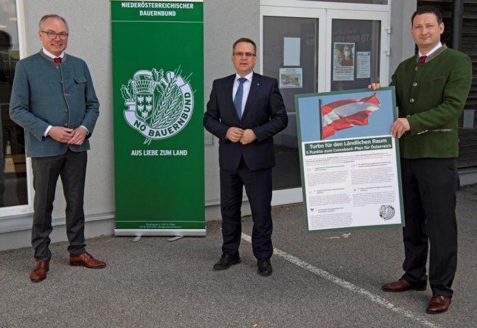 NÖ Bauernbundobmann LH-Stv. Stephan Pernkopf und Direktor Paul Nemecek überreichten Klubobmann August Wöginger das Programm