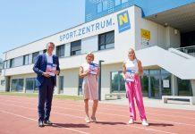 (v.l.n.r.): Sport-Landesrat Jochen Danninger, Landeshauptfrau Johanna Mikl-Leitner und Leichtathletin Ivona Dadic präsentierten im Sportzentrum Niederösterreich die neue Sportstrategie NÖ 2025 (Bildquelle: NLK/Pfeiffer)