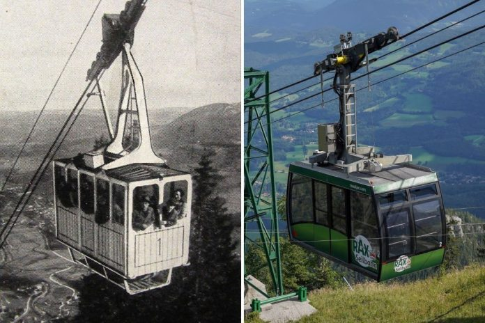 """Die Rax-Seilbahn, die nach dem """"Bleichert-Zuegg-System"""" erbaut wurde, nahm am 9. Juni 1926 ihren Betrieb auf (Bildquelle: Rax-Seilbahn)"""
