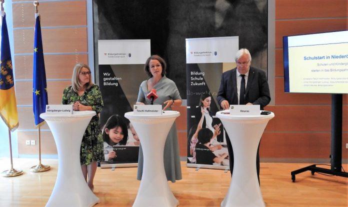 (v.l.n.r.): Gesundheitslandesrätin Ulrike Königsberger-Ludwig, Bildungslandesrätin Christiane Teschl-Hofmeister und Bildungsdirektor Johann Heuras informieren über das Bildungsjahr 2021/22 (Bildquelle: Thomas Resch)